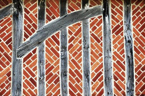 Brick, Timer, Half Timbered, Wall, Old, Medieval, Tudor