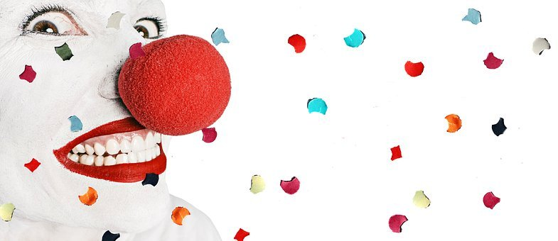 Clown, Fun, Cheerful, Mood, Face, Confetti, Joy, Laugh