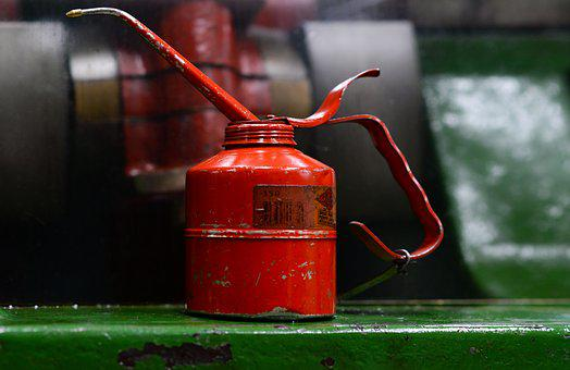 Oil, Can, Product, Container, Grease, Metal, Red, Steel