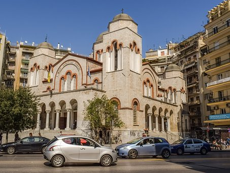 Greece, Thessaloniki, Church, Street, Urban Life, Urban