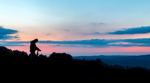 Silhouette, Photographer, Nature, Sunset, Colored Sky