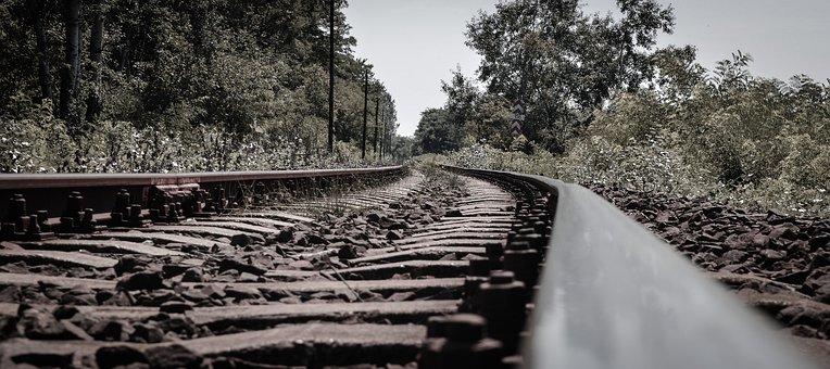Rail, Steel, Trees, Railway, Railroad, Station, Rusty