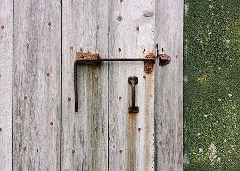 Door, Latch, Exterior, Weathered, Old