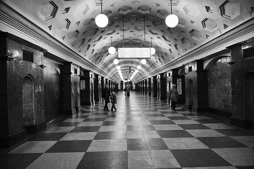 Metro, Moscow, Red Gate, Subway, Black And White, Bw