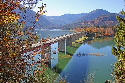 Sylvenstein, Sylvenstein Bridge, Bridge, Autumn