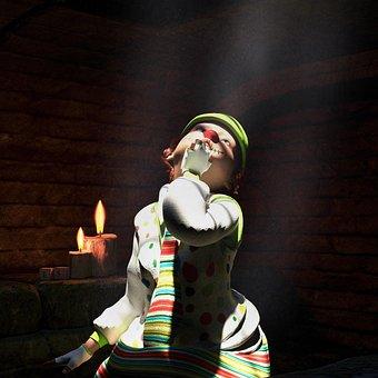 Clown, Child, Halloween, It, Sad, Colorful, Cute