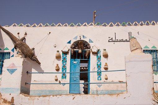 Egyptian, House, Dies, Entrance, Crocodiles, Garnish