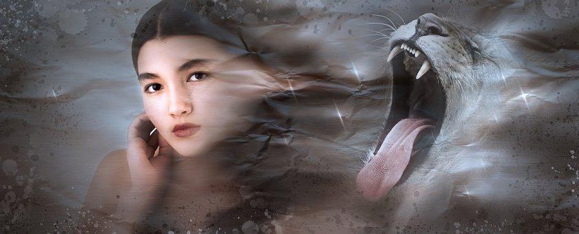 Fantasy, Portrait, Lion, Foot, Girl, Woman, Mystical