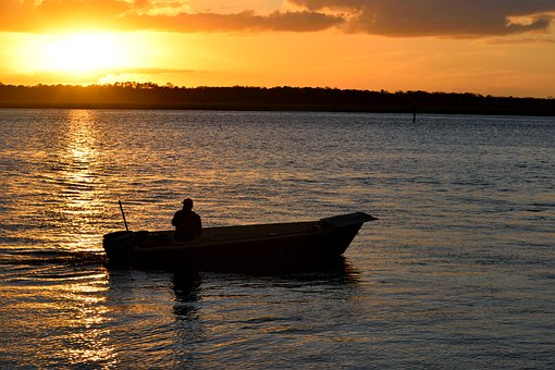 Sunset, River, Vilano Beach, Florida, Fisherman, Boat