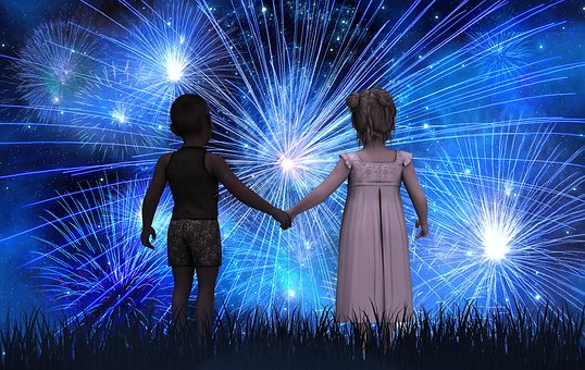 Children, Forward, New Year's Day, Fireworks