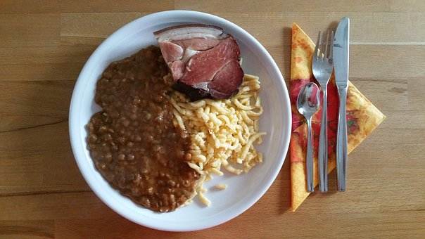 Lenses With Spaetzle And Smoked Meat, Original, Swabian