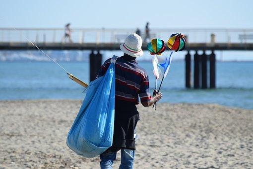Peddler, Migrant, Beach, Seller, Pinwheels, Swivels