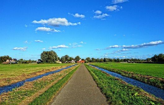 Road, Waterway, Horizon, Field, Perspective