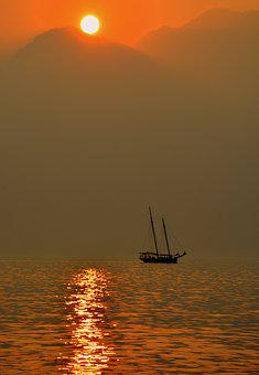 Sailing Ship, Lake, Sunset, Sun, Mooring, Reflection