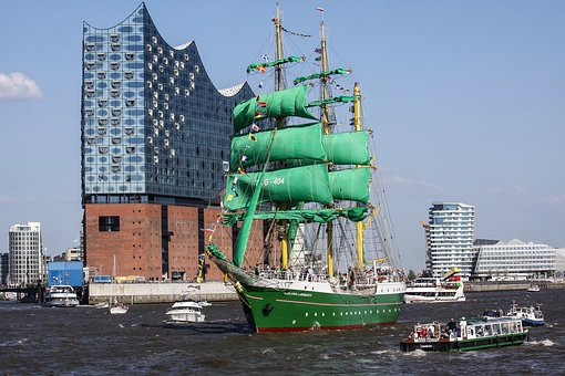 Sailing Vessel, Water, Three Masted, Square Sails