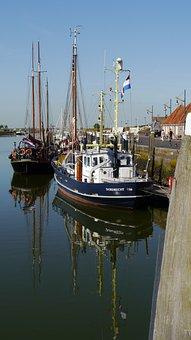 North Sea, Netherlands, Zeeland, Veere, Marina, Ships