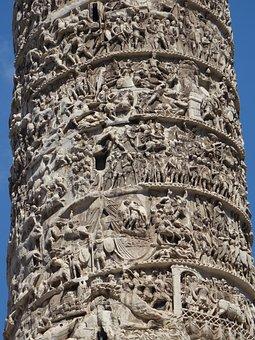 Rome, Italy, Column, Sculpture, Antique
