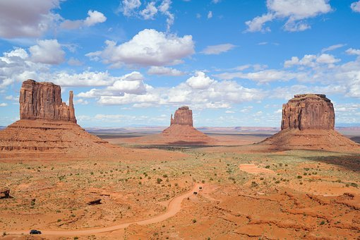 Monument, Valley, West, Western, Blue, Sky, Sand