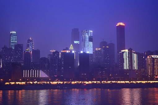 Chongqing, Night View, Tall Buildings, Reflection