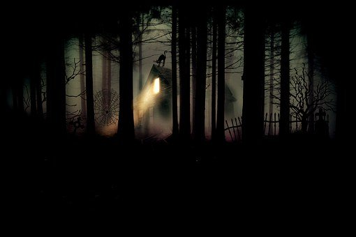 Forest, Witch's House, Cemetery, Tombstone, Dark, Night