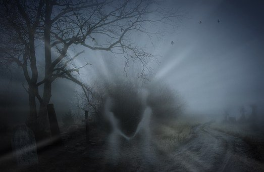 Spooky, Death, Cemetery, Graves, Soul, Man, Woman, Fog