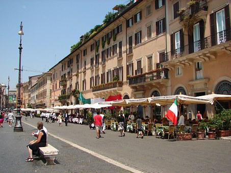 Piazza Navona, City Square, Buildings, Street, Eatery