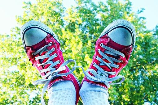 Feet, Shoe, Sneakers, Female, Body, Ankle, Sock, Tree