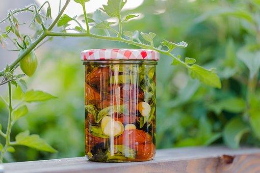 Homemade, Italy, Mediteran, Tomatoes, Garlic, Jar