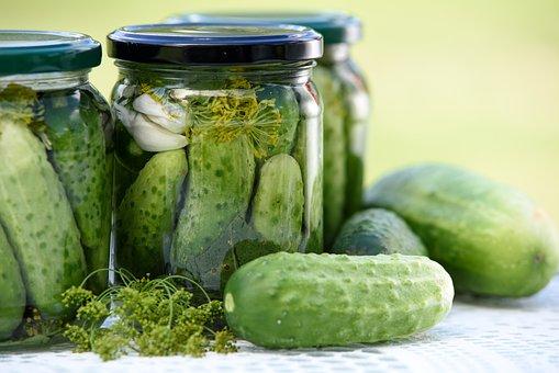 Pickled Cucumbers, Homemade Preserves, Jars, Eating