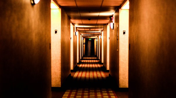 Hotel, Fear, Orange, Hall, Vanishing Point, Hotel Lobby