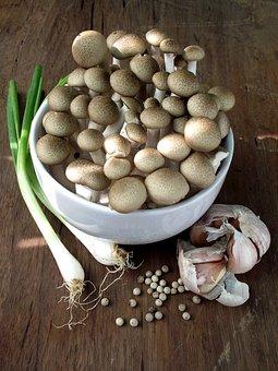 Mushroom, Spring Onion, Garlic, Pepper, Food
