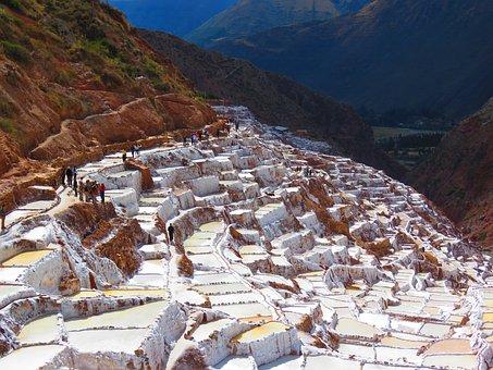 Salinas Of Maras, Salt, White, Water, Peru