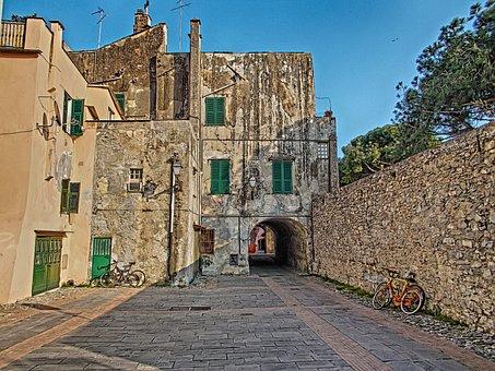 Albenga, Liguria, Square, Piazza, Italy, Wall, Walls