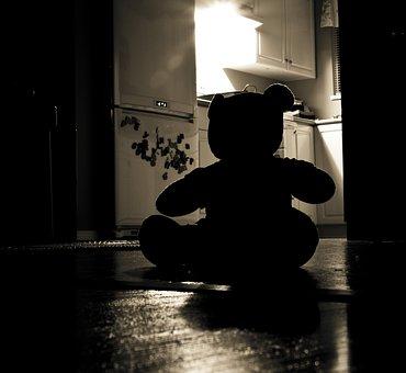 Teddy Bear, Silhouette, Evil, Night, Home, Problem