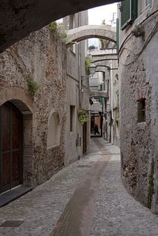 Albenga, Alley, Old, Eng, Italy, Province, Savona
