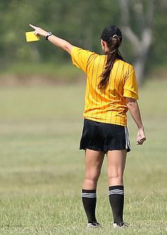 Soccer, Referee, Female, Yellow Card, Game, Football