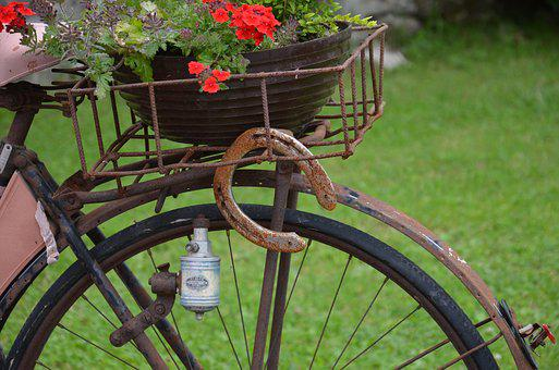 Horseshoe, Old Bicycle, Rust, Old, Rusty, Wheel, Brown