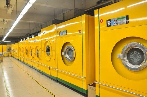 Shop, Laundry, Washing Machine, Big, Yellow, Clean