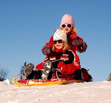 Sweden, Children, Girls, Sled, Sledding, Winter, Snow