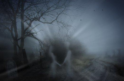 Spooky, Death, Cemetery, Graves, Soul, Man, Woman, Fog