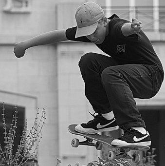 Skating, Sports, People, Skateboard, Man, Pet, Jump