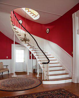 Stairs, Manor House, Architecture, Railing, Staircase