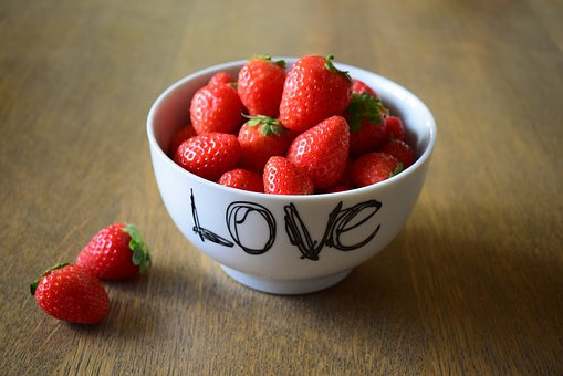 Strawberries, Love, My Love, Valentine, Red, Fruit, Cup
