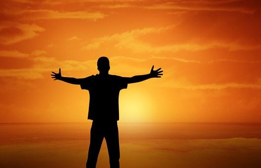 Sunset, Boy, Open Arms, Gesture, Orange Sky, Silhouette
