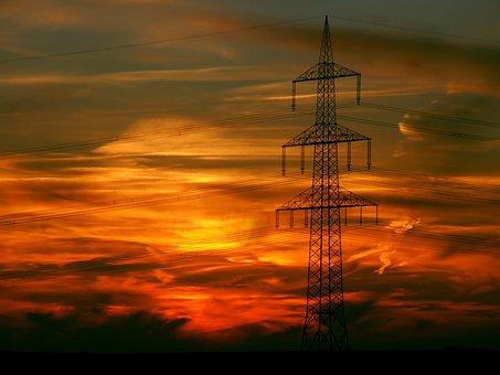 Sunset, Afterglow, Landscape, Technology, Energy