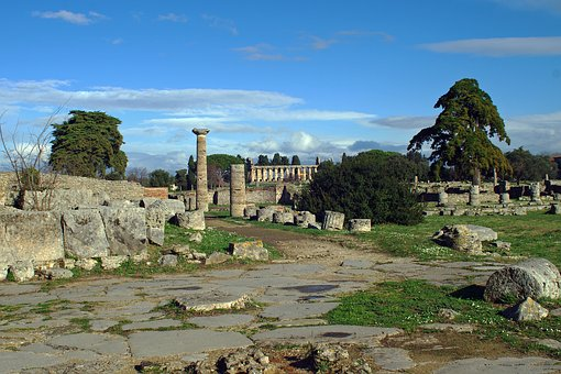 Paestum, Via Sacra, Archaeology, Salerno, Italy