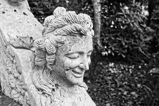 Sculpture, Stone, Sphinx, Bench, Bench Support, Art