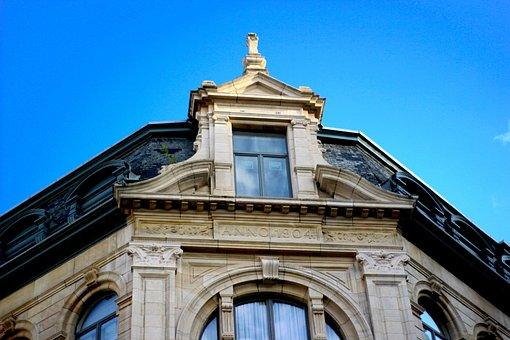 Blue Sky, Architecture, Belgium, City, Building Facade