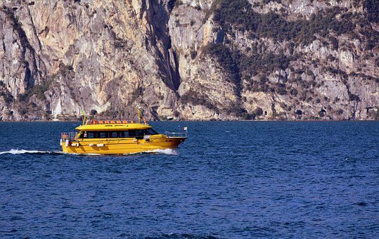 Lake, Boat, Mountain, Garda, Italy, Water