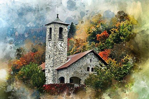 Castle, Forest, Riddle, Autumn, Sky, Golden Autumn